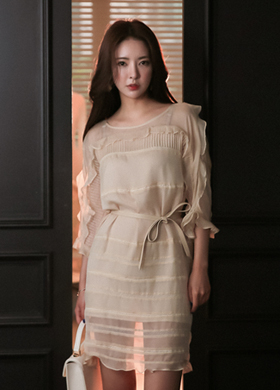 ann silk frill dress(벨트set)